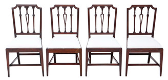 Antique quality set of 4 Georgian mahogany dining chairs C1800