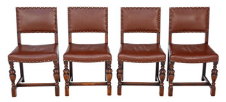 Antique set of 4 C1920 oak and leather dining chairs Jacobean revival
