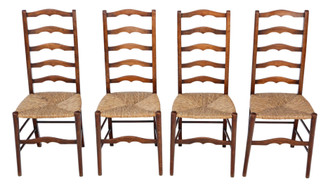 Antique set of 4 C1910-20 beech and rush kitchen dining chairs