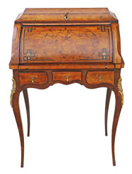 Antique quality small 19th Century marquetry cylinder bureau desk