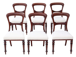 Antique fine quality set of 6 Victorian mahogany dining chairs C1880