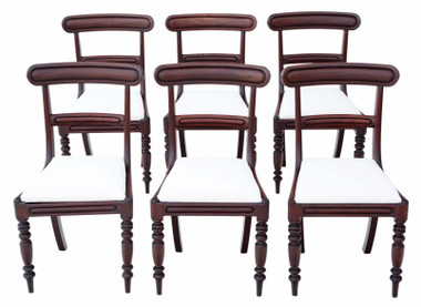 Antique fine C1850 quality set of 6 Victorian mahogany dining chairs