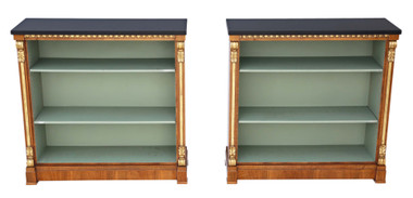Antique quality pair of large Victorian and later walnut adjustable bookcase