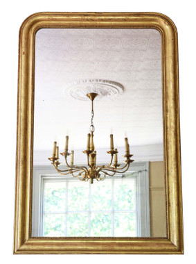 Antique very large 19th Century quality gilt overmantle wall mirror