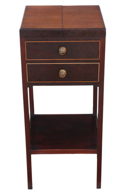 Antique fine quality Georgian mahogany bedside table washstand C1810