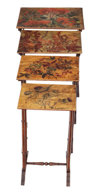 Antique quality 19th Century decorated beech nest of 4 side tables occasional