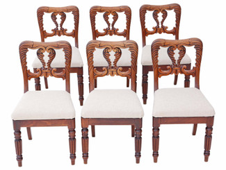 Antique quality set of 6 William IV carved mahogany dining chairs C1830