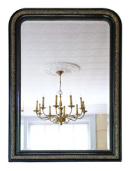 Antique very large 19th Century ebonised and gilt finish overmantle wall mirror