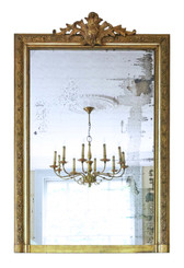 Antique large quality 19th Century French gilt overmantle or wall mirror