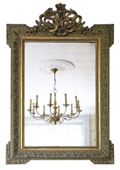 Antique large quality 19th Century French gilt overmantle wall mirror