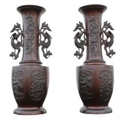 Antique large fine quality pair of Japanese bronze vases Meiji period 19th C