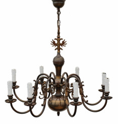 Antique large Flemish brass or bronze 8 arm 8 lamp chandelier FREE DELIVERY