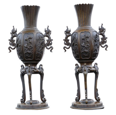 Antique large quality pair of Chinese bronze vases 19th C