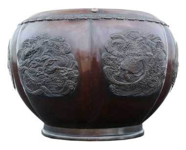 Antique large quality Japanese bronze jardiniere planter bowl Meiji period
