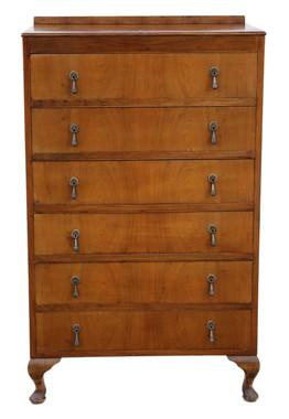 Antique Retro 6 drawer figured walnut chest of drawers C1930