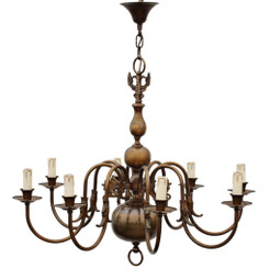 Antique large Flemish brass bronze 8 arm 8 lamp chandelier FREE DELIVERY