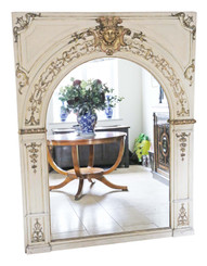 Antique large quality overmantle wall floor mirror 19th Century gilt & painted