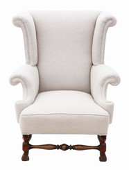 Antique quality late Victorian mahogany 19th Century wing back armchair