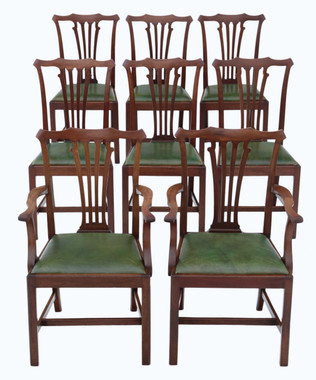 Antique quality set of 8 (6+2) mahogany dining chairs mid-19th Century