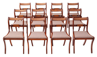 Quality set of 12 Regency antique revival dining chairs (approximately 50 years old)