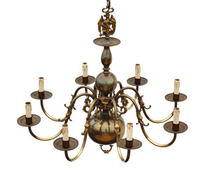 Antique large Flemish brass bronze 8 lamp chandelier light FREE DELIVERY