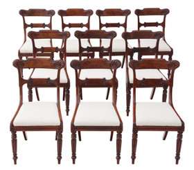 Antique quality set of 10 Regency C1825-1835 carved mahogany dining chairs