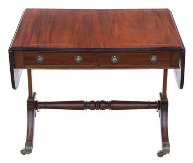 Antique quality late 19th Century inlaid mahogany folding sofa table
