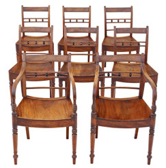 Antique fine quality set of 8 light mahogany 19th Century kitchen dining chairs