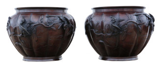 Antique large pair of fine quality Japanese bronze jardinieres planters bowls Meiji period