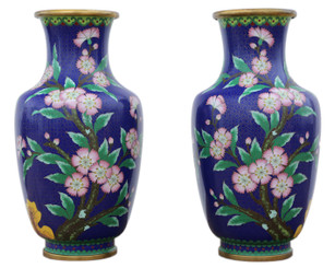 Antique large quality pair of handed mid 20th Century Chinese cloisonne vases.