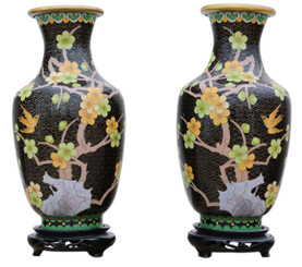 Antique large quality pair of handed 20th Century Chinese cloisonne vases
