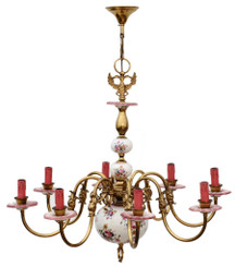 Antique large Flemish brass bronze ceramic 8 lamp chandelier light FREE DELIVERY