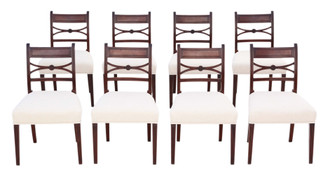 Antique fine quality set of 8 Georgian C1825 mahogany X back dining chairs