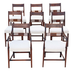 Antique fine quality set of 8 (6+2) Georgian C1820 inlaid mahogany dining chairs