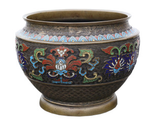 Antique large quality Chinese bronze cloisonne planter bowl Late 19th Century