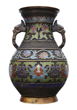 Antique large late 19th Century quality Chinese bronze cloisonne vase