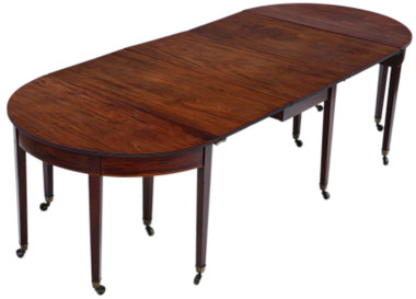 Antique very large fine quality ~9' Cuban mahogany extending dining table George III