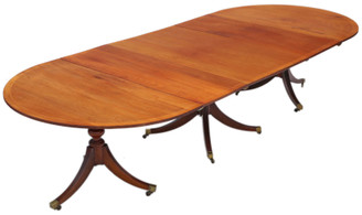 Antique very large fine quality ~11' mahogany extending dining table triple pedestal 19th Century