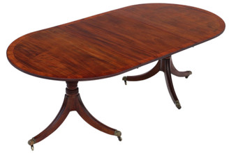 Antique large fine quality ~7' mahogany extending dining table double pedestal 19th Century
