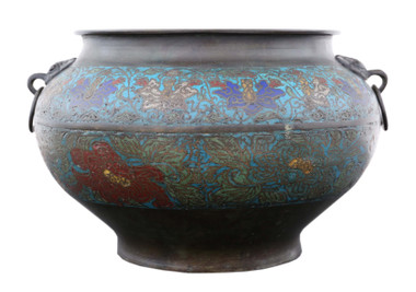 Antique large quality Chinese bronze champleve planter bowl Late 19th Century