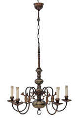 Antique large Flemish 5 lamp brass bronze chandelier FREE DELIVERY