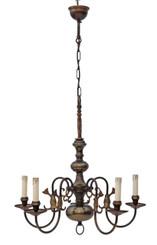 Antique large Flemish 5 lamp brass bronze chandelier FREE DELIVERY