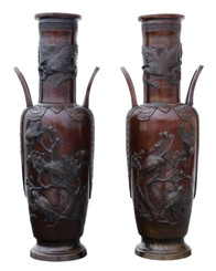 Antique large fine quality pair of 19th C Japanese bronze vases Meiji period