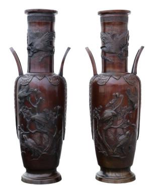 Antique large fine quality pair of 19th C Japanese bronze vases Meiji period