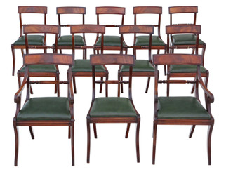 Antique quality set of 12 (10+2) Regency mahogany dining chairs 19th Century