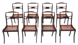 Antique fine quality set of 8 Regency faux rosewood dining chairs 19th Century