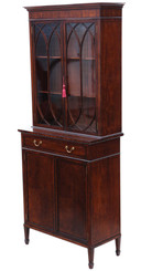 Antique fine quality Georgian revival mahogany glazed bookcase on cupboard C1890