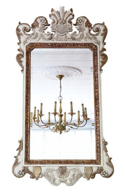 Antique large ovemantle wall mirror white and gilt frame early 20th Century