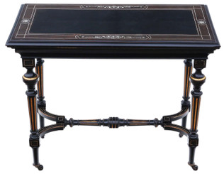 Antique Victorian quality aesthetic ebonised and gilt folding card tea console table C1880