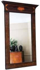 Antique large fine quality Georgian C1820 mahogany overmantle wall mirror